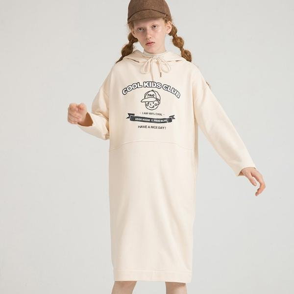 PROD Bldg Hooded Dress One Size / Cream Cool Kids Club