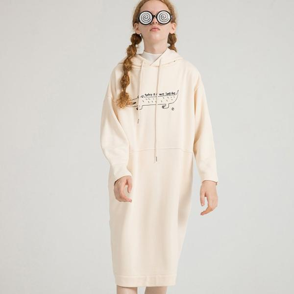 PROD Bldg Hooded Dress One Size / Cream Long Day (Croc)
