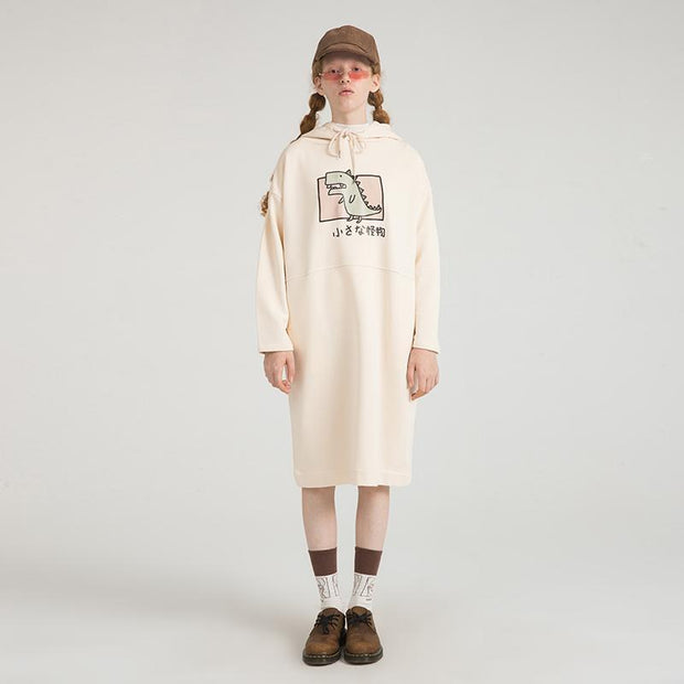 PROD Bldg Hooded Dress One Size / Cream Rawr (Dinosaur)