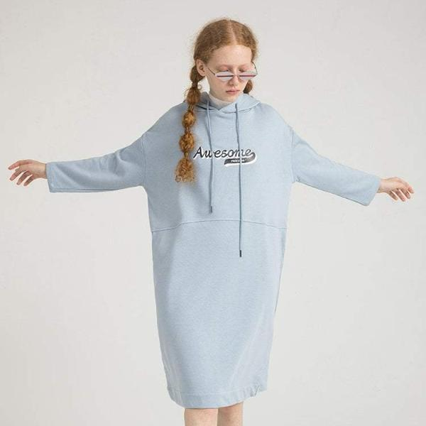 PROD Bldg Hooded Dress One Size / Light Blue Awesome Varsity