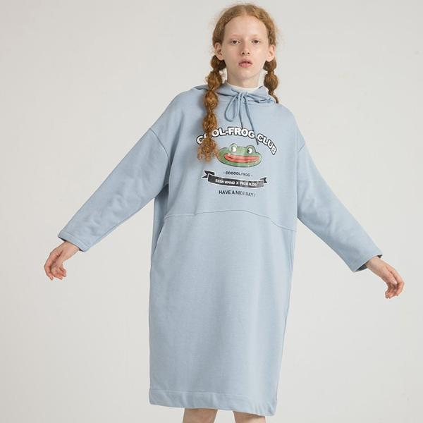 PROD Bldg Hooded Dress One Size / Light Blue Cool Frog Club