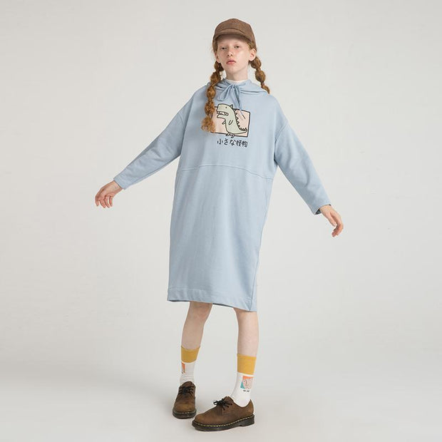 PROD Bldg Hooded Dress One Size / Light Blue Rawr (Dinosaur)
