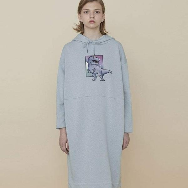 PROD Bldg Hooded Dress One Size / Light Blue T-Rex