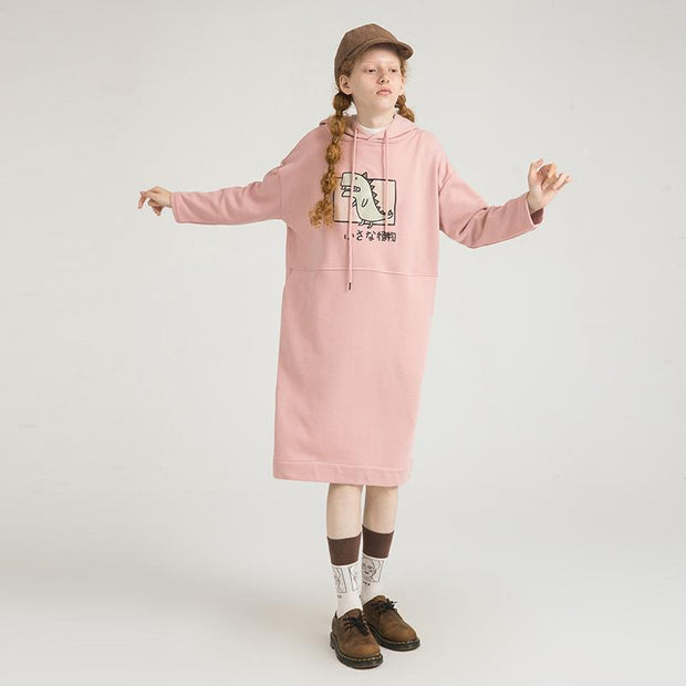 PROD Bldg Hooded Dress One Size / Pink Rawr (Dinosaur)