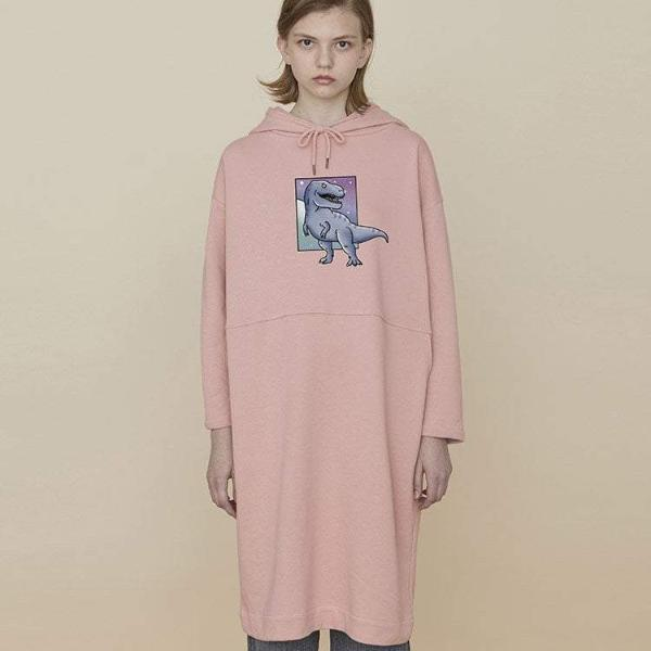 PROD Bldg Hooded Dress One Size / Pink T-Rex