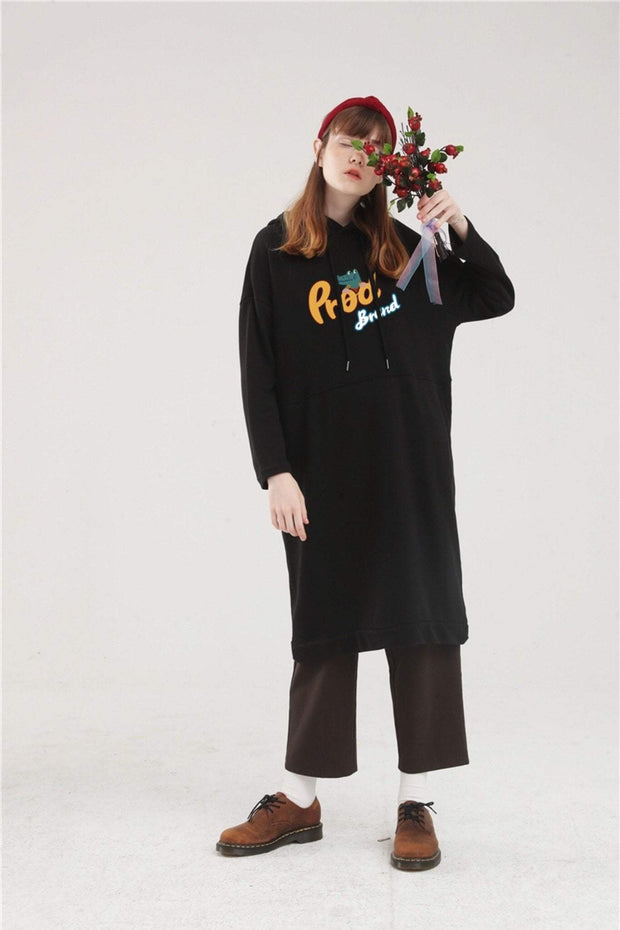 PROD Bldg Hoodie Dress One Size / Black PROD Brand Long Sleeve Hoodie Dress