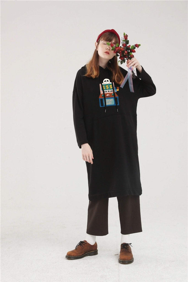 PROD Bldg Hoodie Dress One Size / Black PROD Lucky Slot Long Sleeve Hoodie Dress