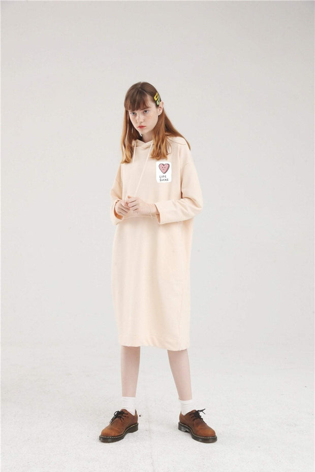 PROD Bldg Hoodie Dress One Size / Cream Life Sucks Long Sleeve Hoodie Dress