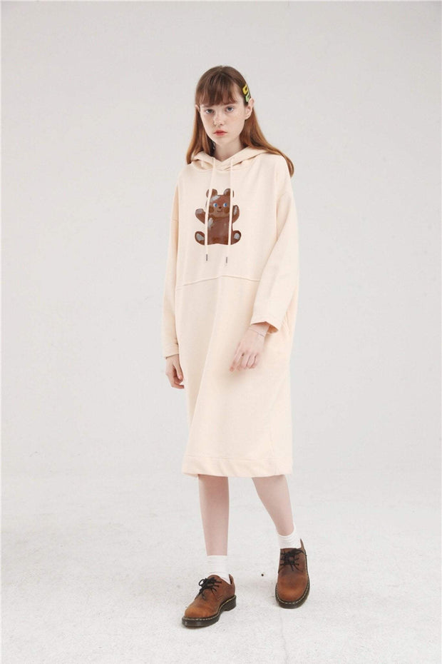 PROD Bldg Hoodie Dress One Size / Cream Painted Bear Long Sleeve Hoodie Dress