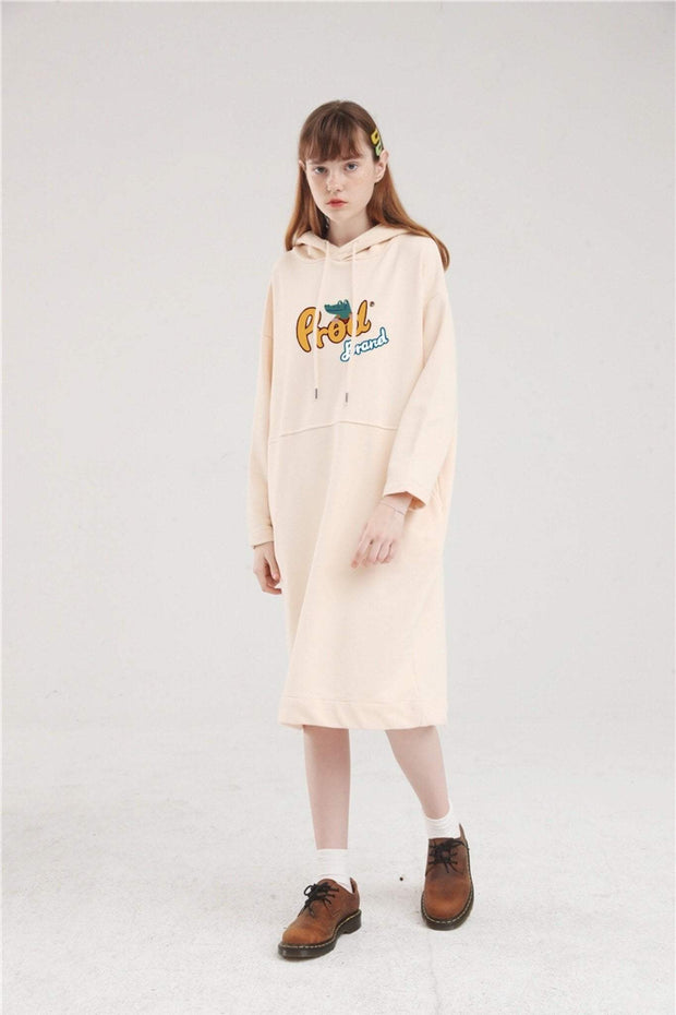 PROD Bldg Hoodie Dress One Size / Cream PROD Brand Long Sleeve Hoodie Dress