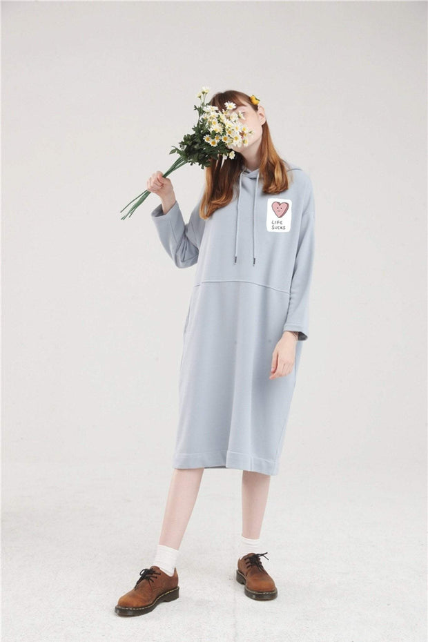 PROD Bldg Hoodie Dress One Size / Light Blue Life Sucks Long Sleeve Hoodie Dress