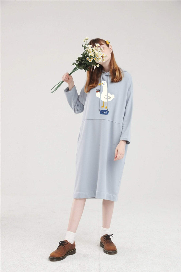 PROD Bldg Hoodie Dress One Size / Light Blue Sad Goose Long Sleeve Hoodie Dress