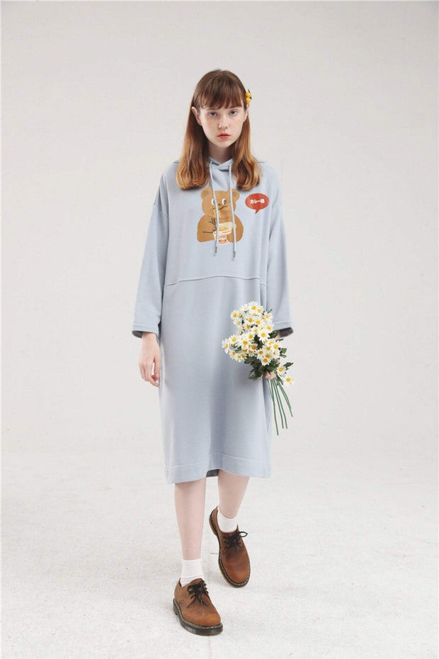 PROD Bldg Hoodie Dress One Size / Light Blue Spicy Ramen Long Sleeve Hoodie Dress