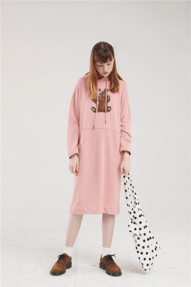 PROD Bldg Hoodie Dress One Size / Pink Painted Bear Long Sleeve Hoodie Dress