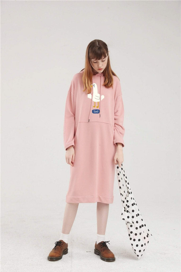 PROD Bldg Hoodie Dress One Size / Pink Sad Goose Long Sleeve Hoodie Dress