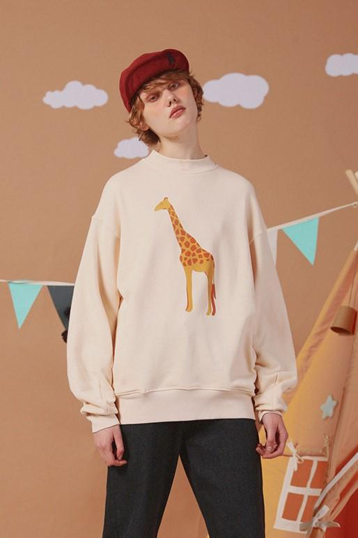 PROD Bldg Last Chance - Final Sale 1 / Cream Giraffe Crewneck Sweatshirt