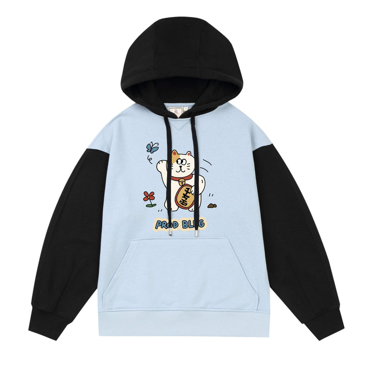PROD Bldg Last Chance - Final Sale 2 / Light Blue Black Lucky Cat Varsity Hoodie
