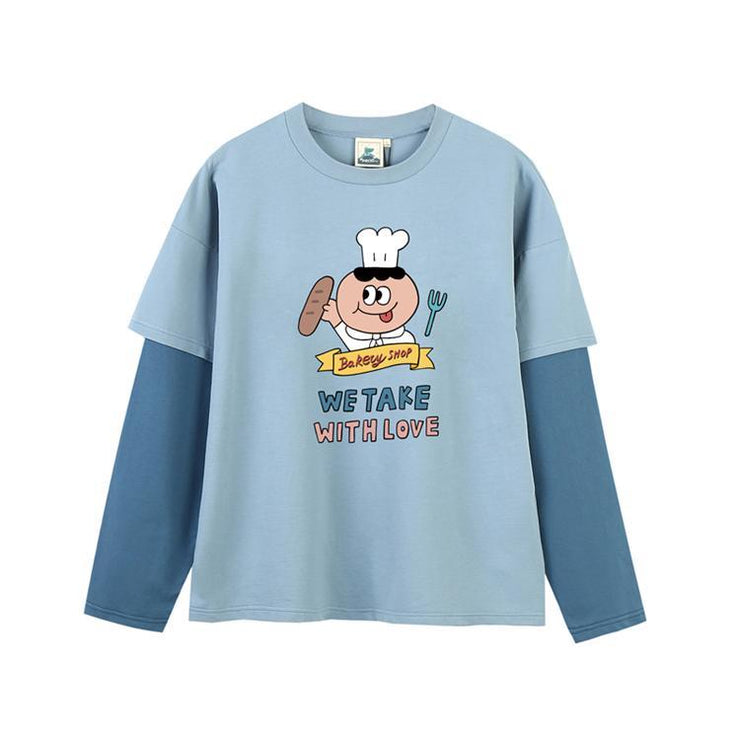 PROD Bldg Last Chance - Final Sale S / Light Blue Dark Blue Baker's Man Layered Long Sleeve