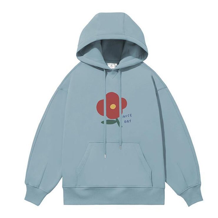 PROD Bldg Last Chance - Final Sale S / Light Blue Nice Day - Flower Fleece Hoodie