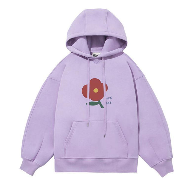PROD Bldg Last Chance - Final Sale S / Lilac Nice Day - Flower Fleece Hoodie