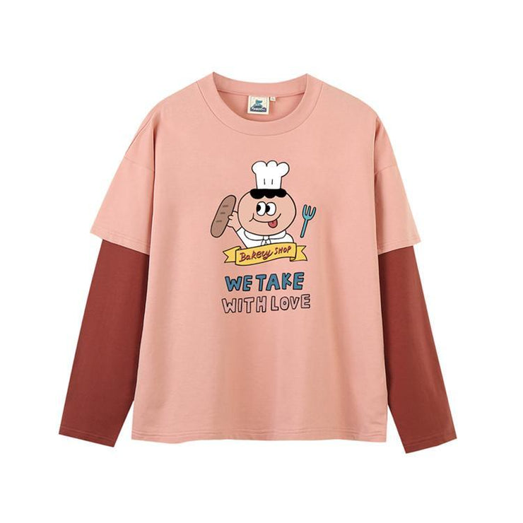 PROD Bldg Last Chance - Final Sale S / Pink Red Baker's Man Layered Long Sleeve