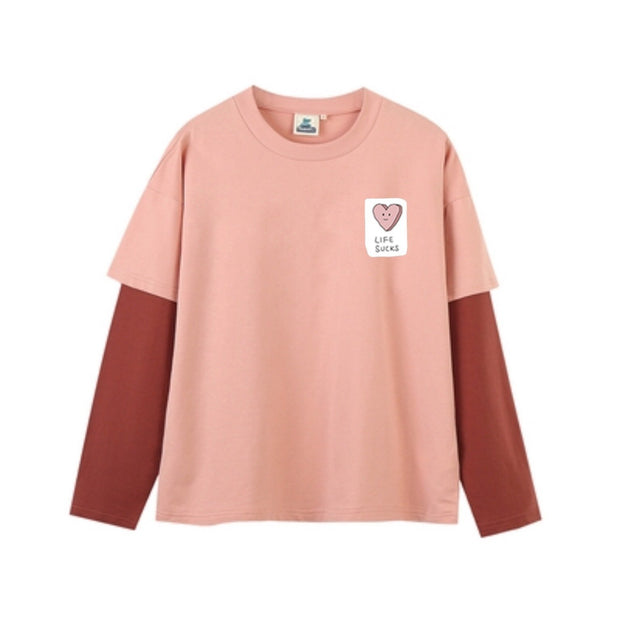 PROD Bldg Last Chance - Final Sale S / Pink Red Life Sucks Layered Long Sleeve