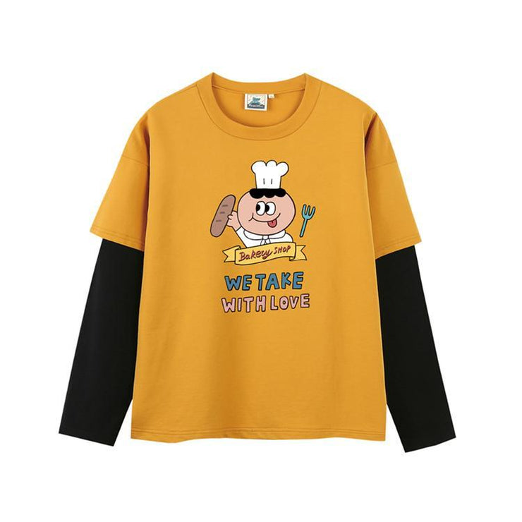 PROD Bldg Last Chance - Final Sale S / Yellow Black Baker's Man Layered Long Sleeve