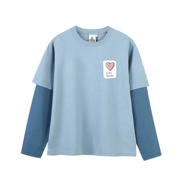 PROD Bldg Layered Long Sleeve S / Light Blue Dark Blue Life Sucks Layered Long Sleeves