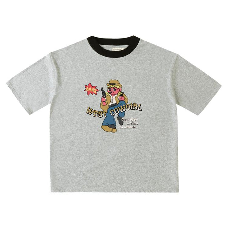 PROD Bldg Oversized T-Shirt S / Gray Black West Cowgirl  Oversized T-Shirt