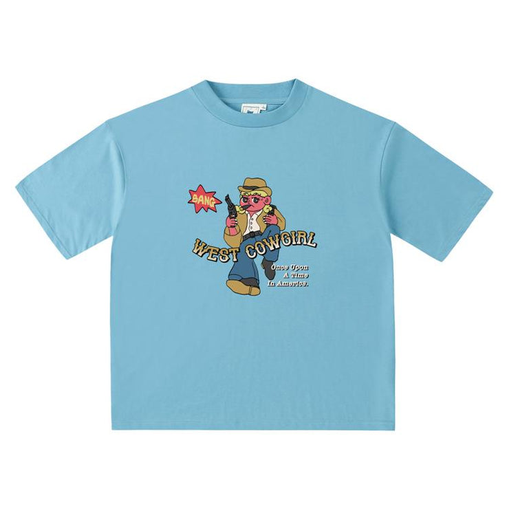 PROD Bldg Oversized T-Shirt S / Light Blue West Cowgirl  Oversized T-Shirt
