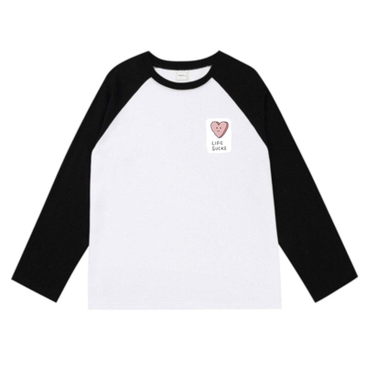 PROD Bldg Varsity Long Sleeve 0 / White Black Life Sucks Varsity Long Sleeve