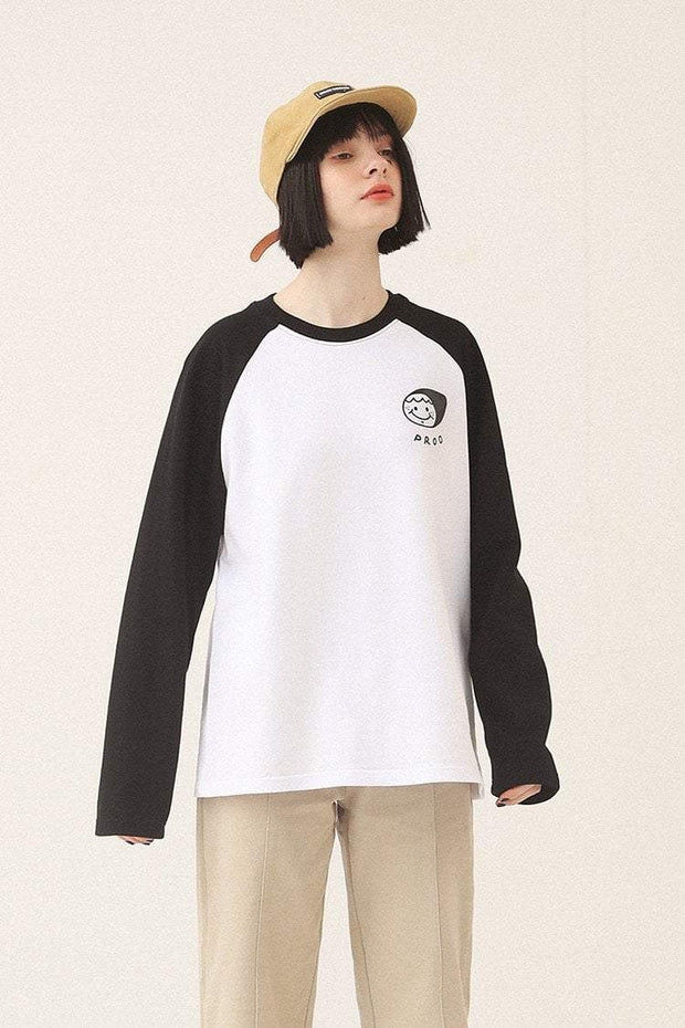 PROD Bldg Varsity Long Sleeve 0 / White Black PROD Face - Girl Varsity Long Sleeve