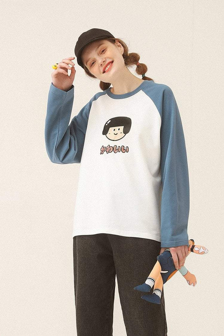 PROD Bldg Varsity Long Sleeve 0 / White Blue Cute Girl - Kawaii Varsity Long Sleeve