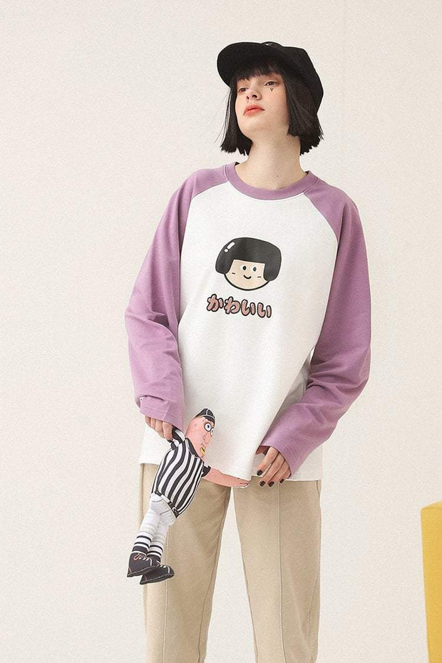 PROD Bldg Varsity Long Sleeve 0 / White Mauve Cute Girl - Kawaii Varsity Long Sleeve
