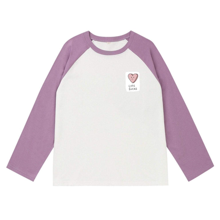 PROD Bldg Varsity Long Sleeve 0 / White Mauve Life Sucks Varsity Long Sleeve
