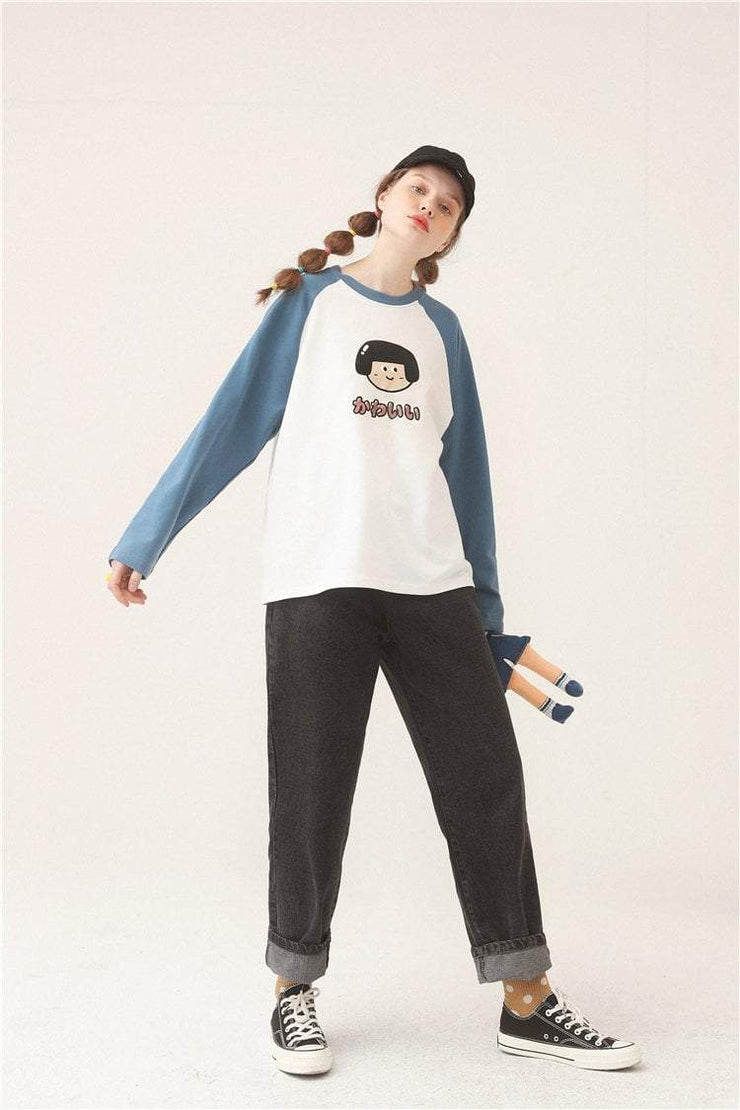 PROD Bldg Varsity Long Sleeve Cute Girl - Kawaii Varsity Long Sleeve