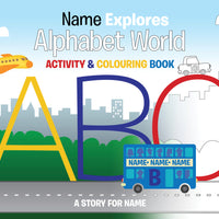 Children Personalised A3 Alphabet World Colouring Activity Book
