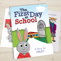Children Personalised First Day At School Hardback Book