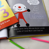 Children Personalised Arty Mouse Numbers Softback Book