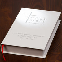 Personalised King James Bible Ivory Cover Book
