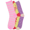 3 x Girls Cotton Rich Computer Butterfly Design Pattern Socks