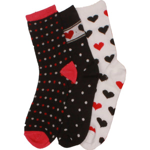 3 x Girls Cotton Rich Computer Forever Love Design Pattern Socks