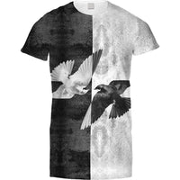 Mens Tshirt Vertical Negative Birds Design