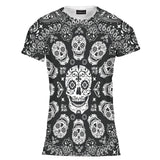 Ladies Women Skull Print Tee T Shirt Top Size:XXL (2XL)