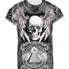 Mens Tshirt Skull Dollars Black Design
