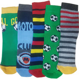 6 x Boys Thermal Motif Design Non Skid Non Slip Gripper Socks