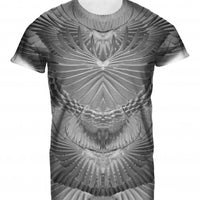 Mens Tshirt Feathers Mono Design