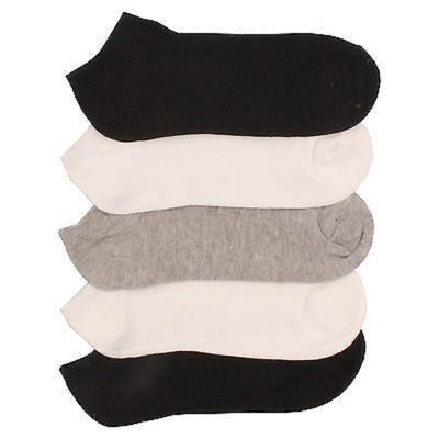 10 x Ladies Women Cotton Rich Trainer Ankle Liner Socks (Grey, White, Black)