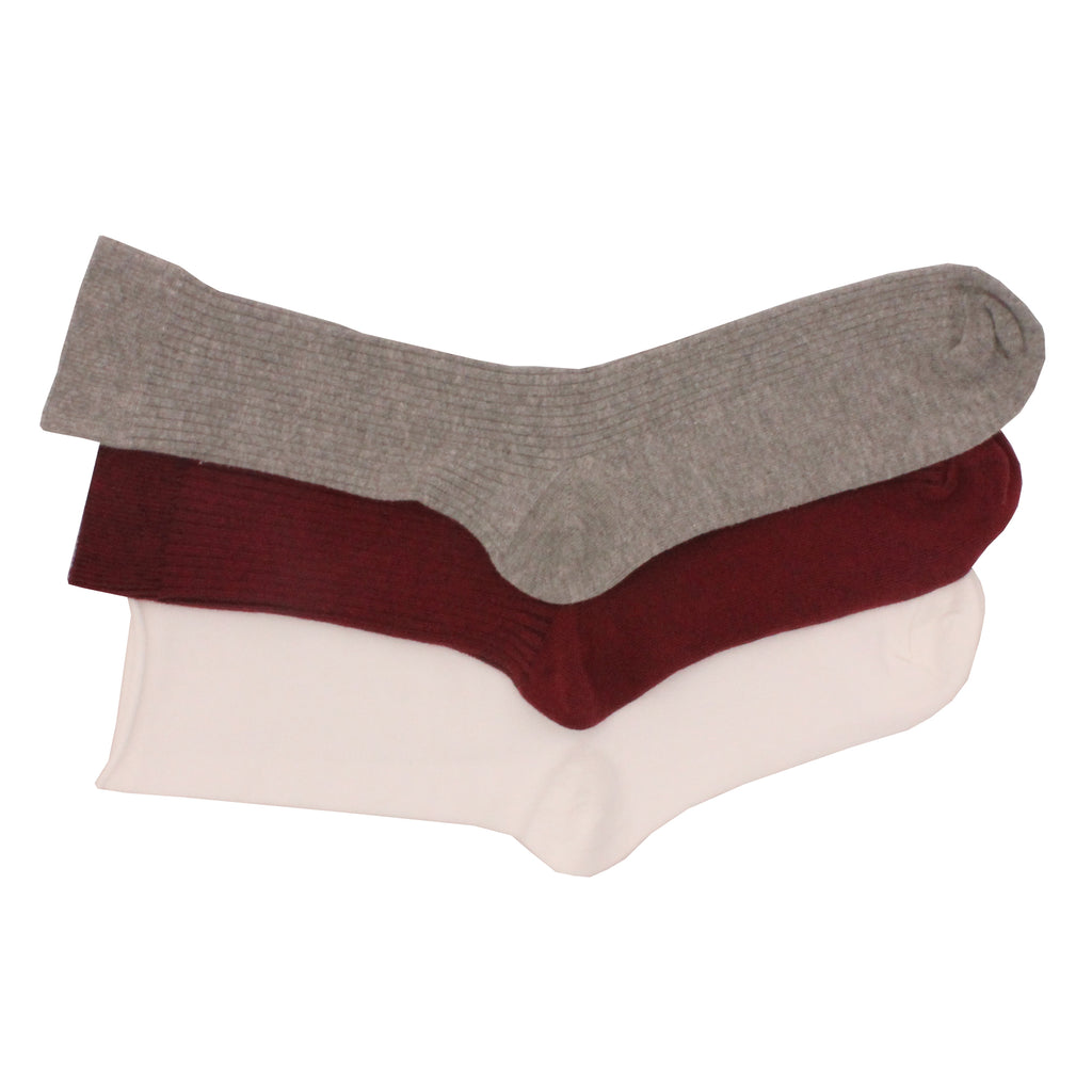 6 x Ladies Women BRITWEAR White Grey Maroon Ankle High Cotton Rich Socks