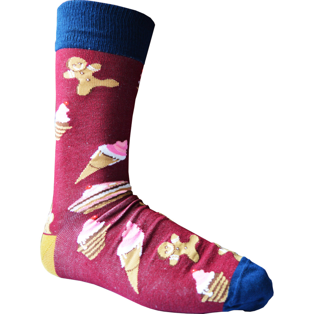 Mens Wow Dougnut Dessert Bamboo Rich Novelty Fun Design Socks